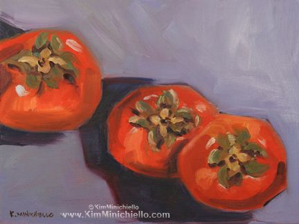 Persimmons, limited edition giclée print on Canvas & note cards  #oilpainting #persimmon www.kimminichiello.com