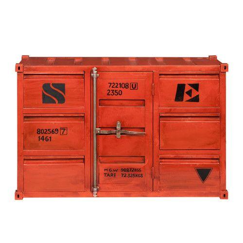 Buffet container en métal rouge L 134 cm | Déco | Pinterest ...
