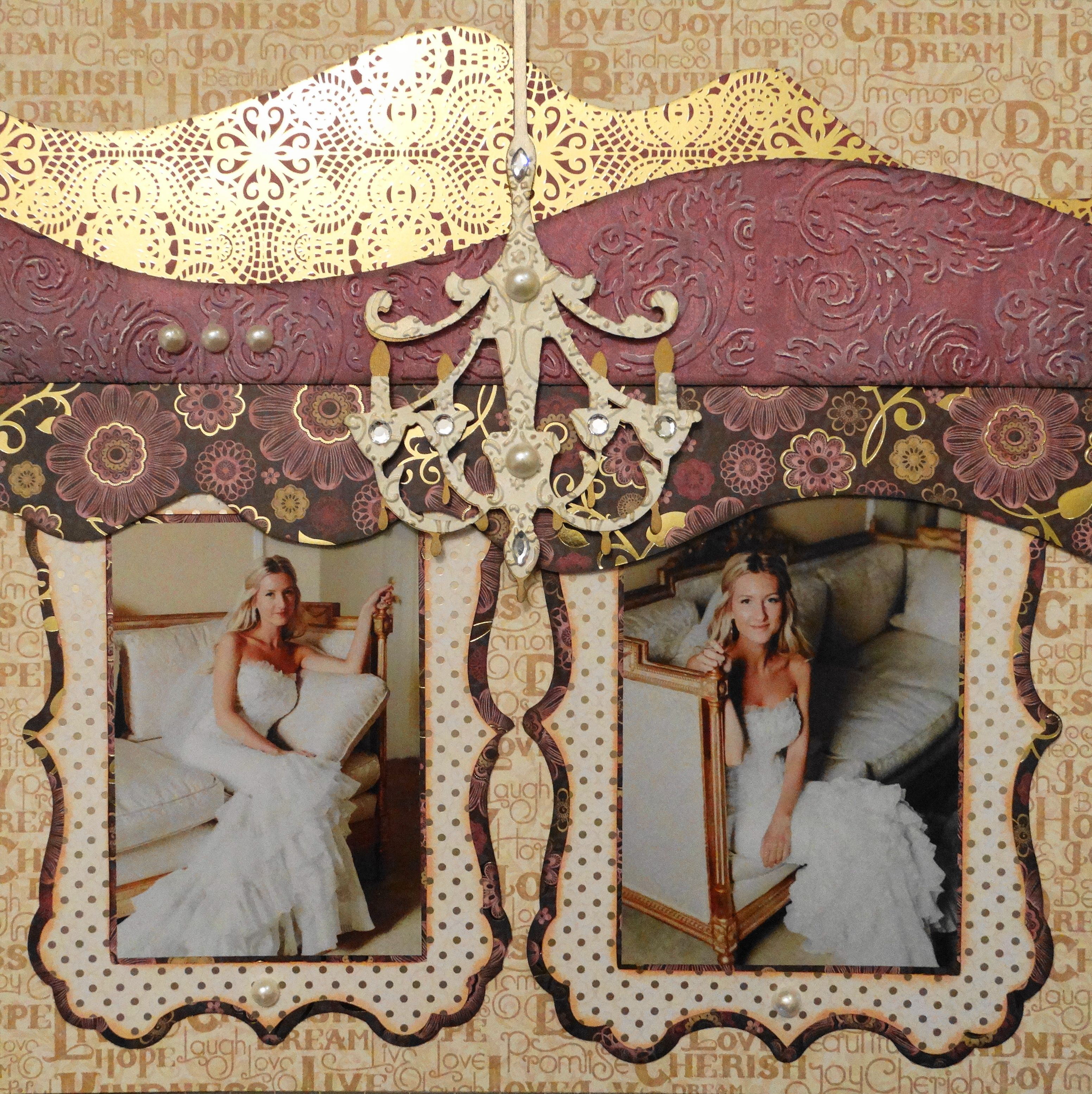 Wedding scrapbook ideas using cricut - The Bride Wedding Scrapbook Page With A Chandelier Image From Cricut S Wall Decor More From Wedding Album 4