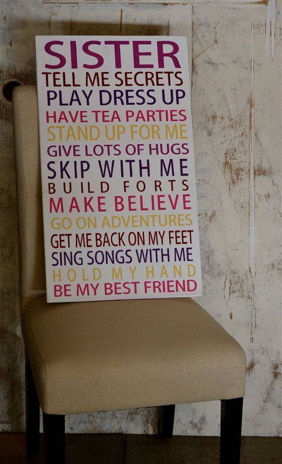 Bedroom Decor Rules sister signs, white and pink, girls room, girls playroom, hand