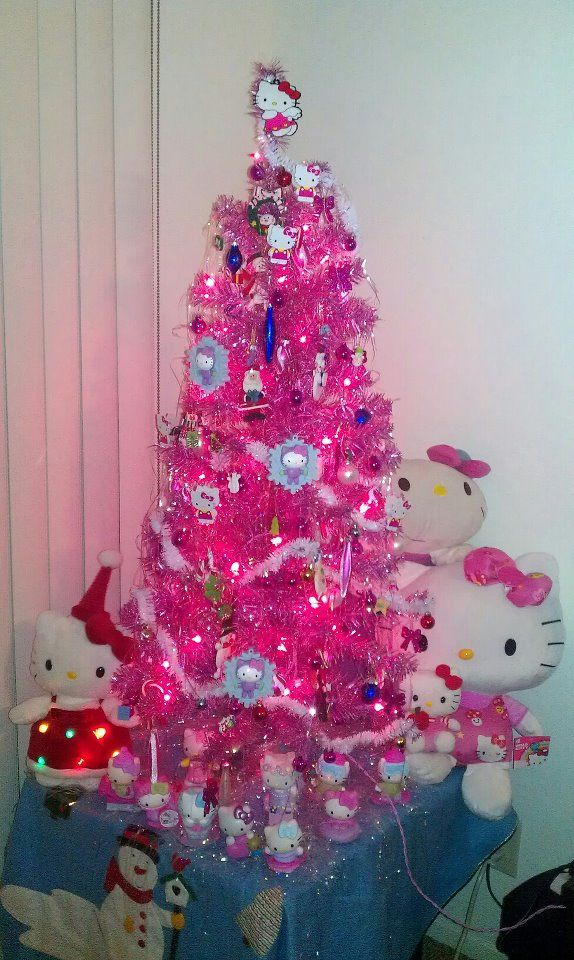 i see this as being a mini tree set up in a hello kitty christmas treepink - Mini Pink Christmas Tree