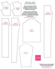 free clothes patterns for monster high and ever after high