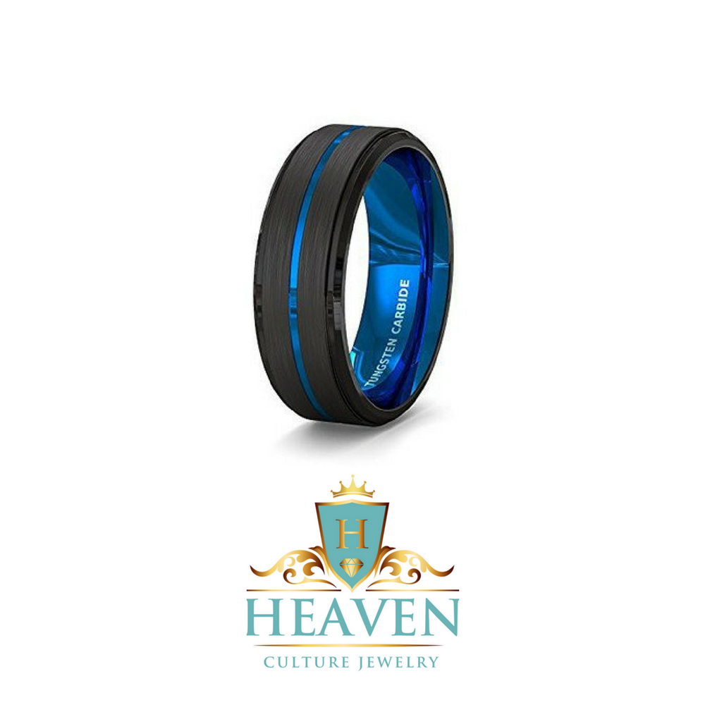 Mens Wedding Band Tungsten Ring 8mm Blue Polished Dome