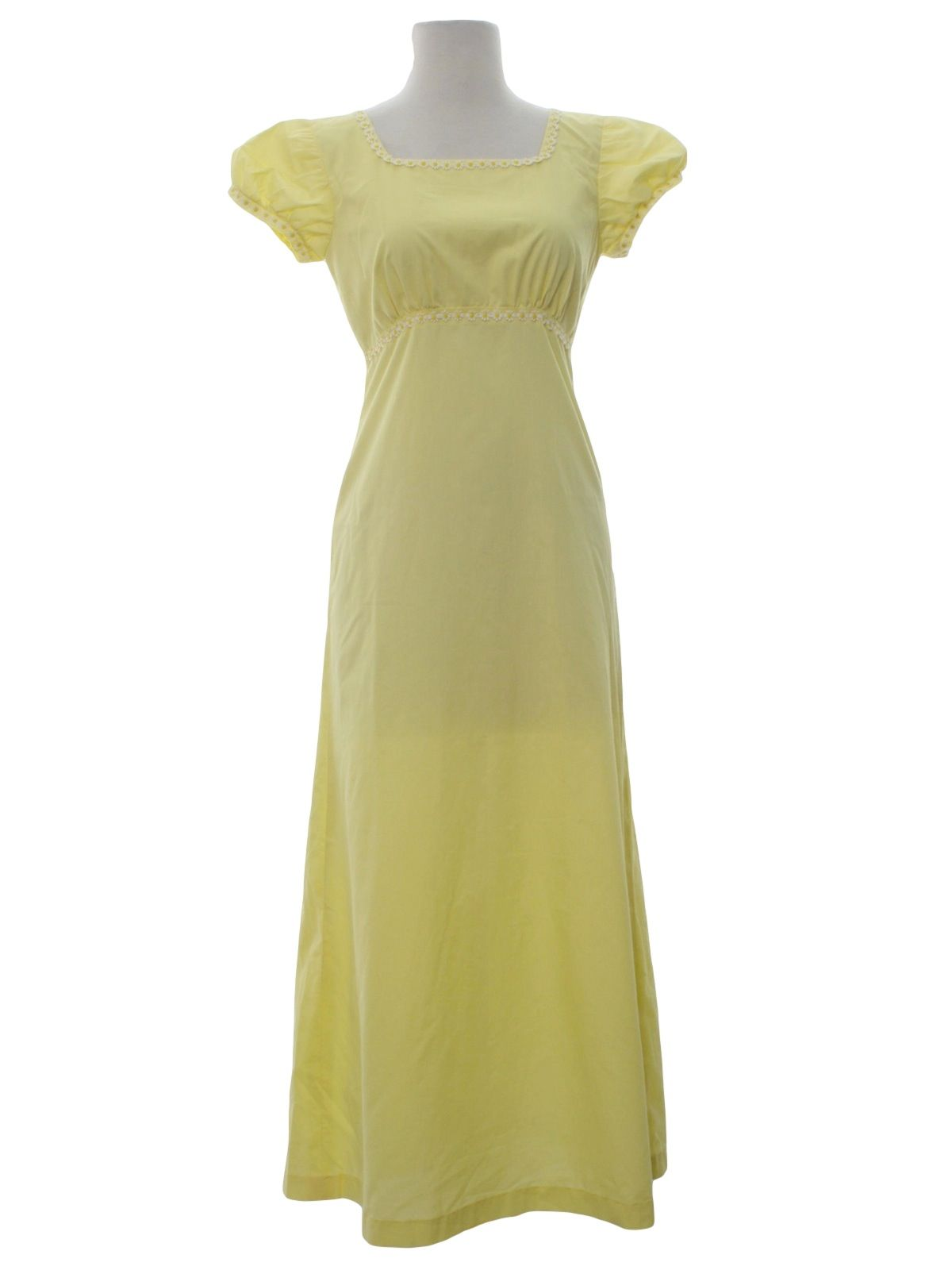 1970s Home Sewn Cocktail Dress: 70s -Home Sewn- Womens soft lemon yellow background polyester cotton blend puffy short sleeves Maxi prom dress. Squared neckline, fitted waistline. Dress features cute white and yellow daisy trim along the neckline, waistband and cuffs. pullover with back zippered closure.