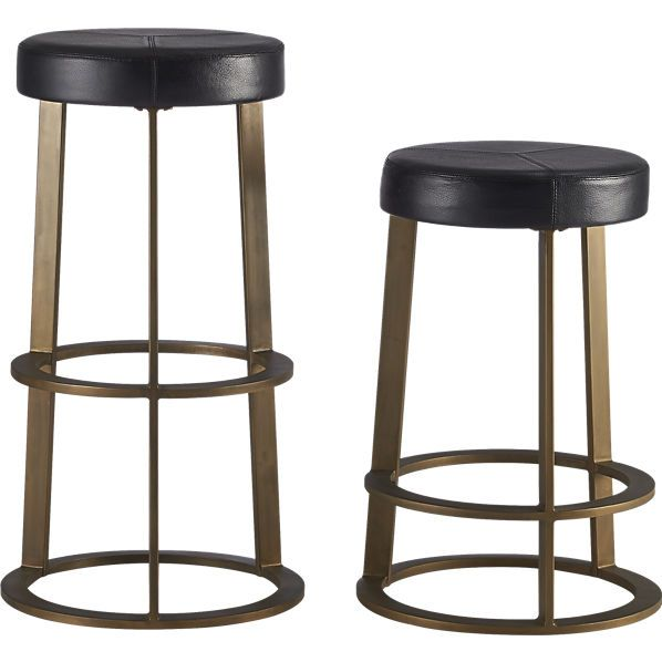 "Kitchen, Reverb Bar Stools in Antique Brass (re-upholster Tops), 14""DIA 30""H or 24""H"