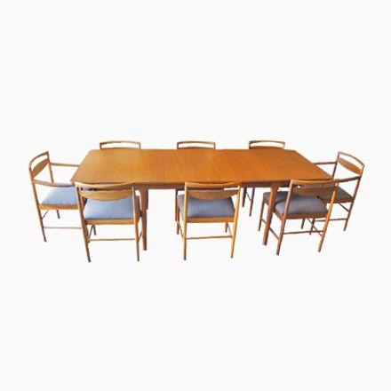 Großer Mid-Century Esstisch & 8 Stühle von McIntosh, 1960er Jetzt ...