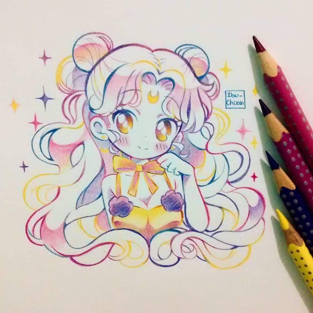 """13.1k Likes, 64 Comments - Ibu 🌠🌠🌌 (@ibu_chuan) on Instagram: """"Luna humana de la película de sailor moon 🌙🌙🌙🌙🐈 Usé lápices faber castell eco colour grip. Me…"""""""