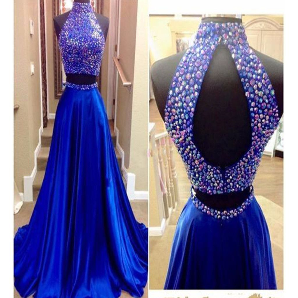 Long royal blue two pieces beaded vintage prom gown dresses rg