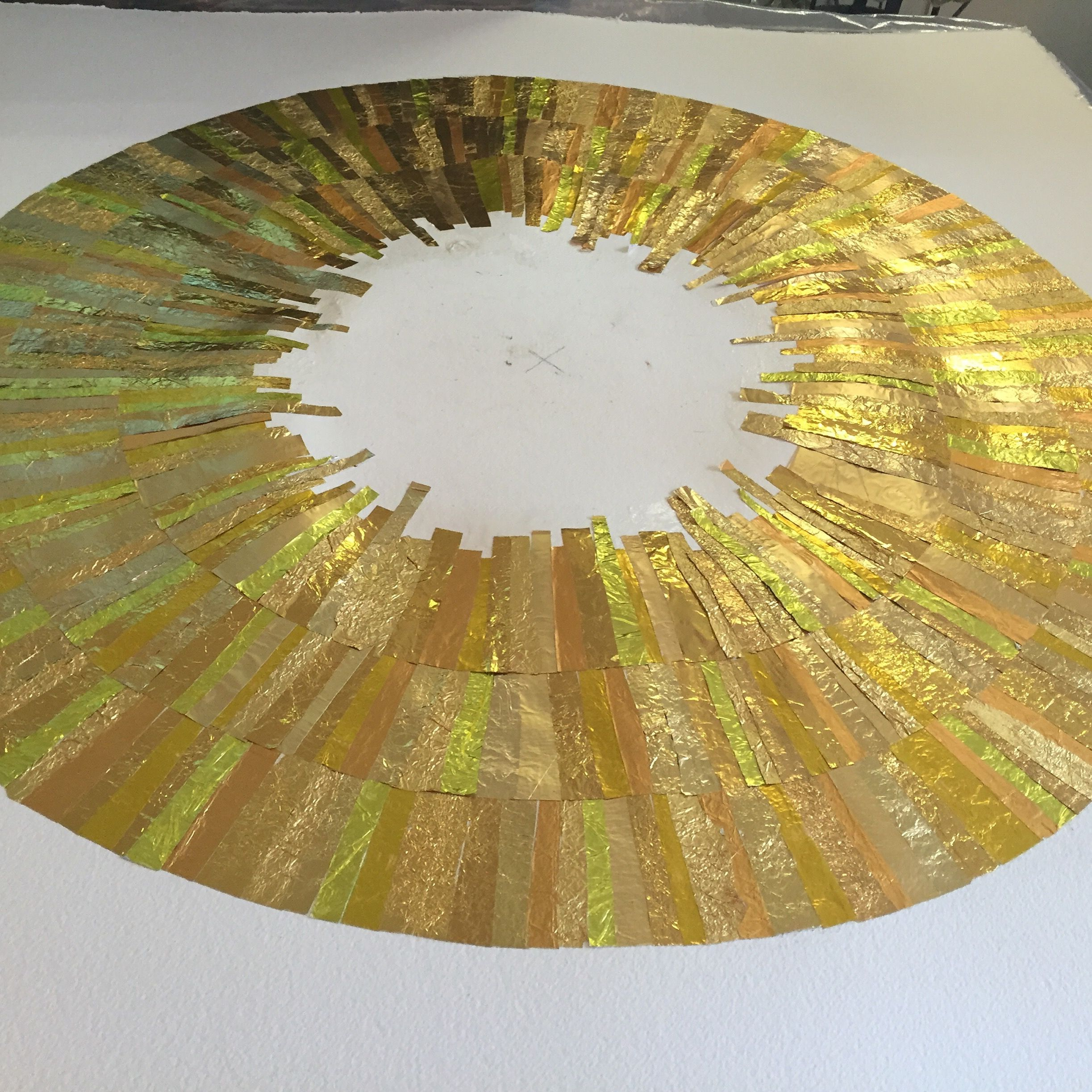 The making of GOLD wall art Third ripple complete. #recycling #art ...