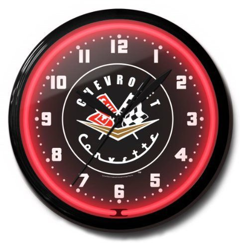 Chevrolet Corvette 1956 To 1957 Red Black Vette Emblem Neon Wall Clock 20 Made In Usa Spun Aluminum Case With Powder Coated Finish With Images Wall Clock Clock Neon Clock