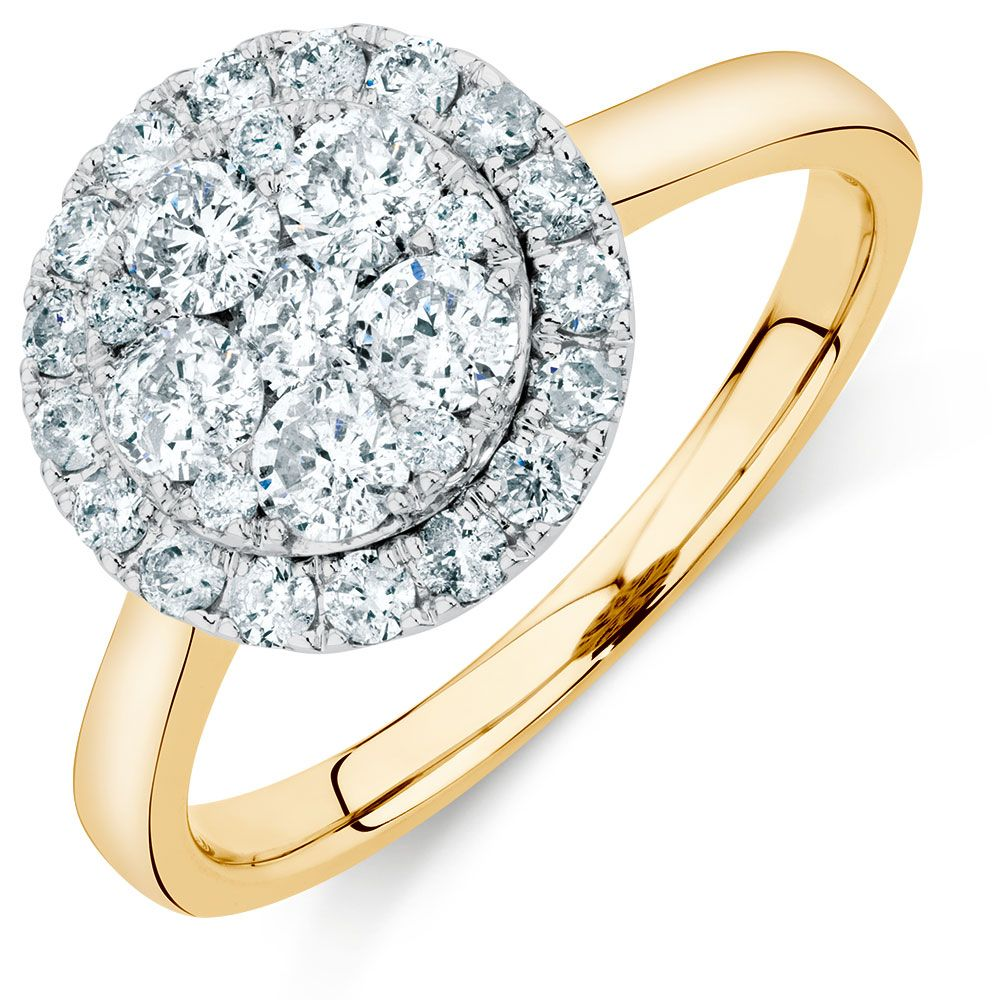 Engagement Ring With 1 Carat TW Of Diamonds In Yellow White Gold