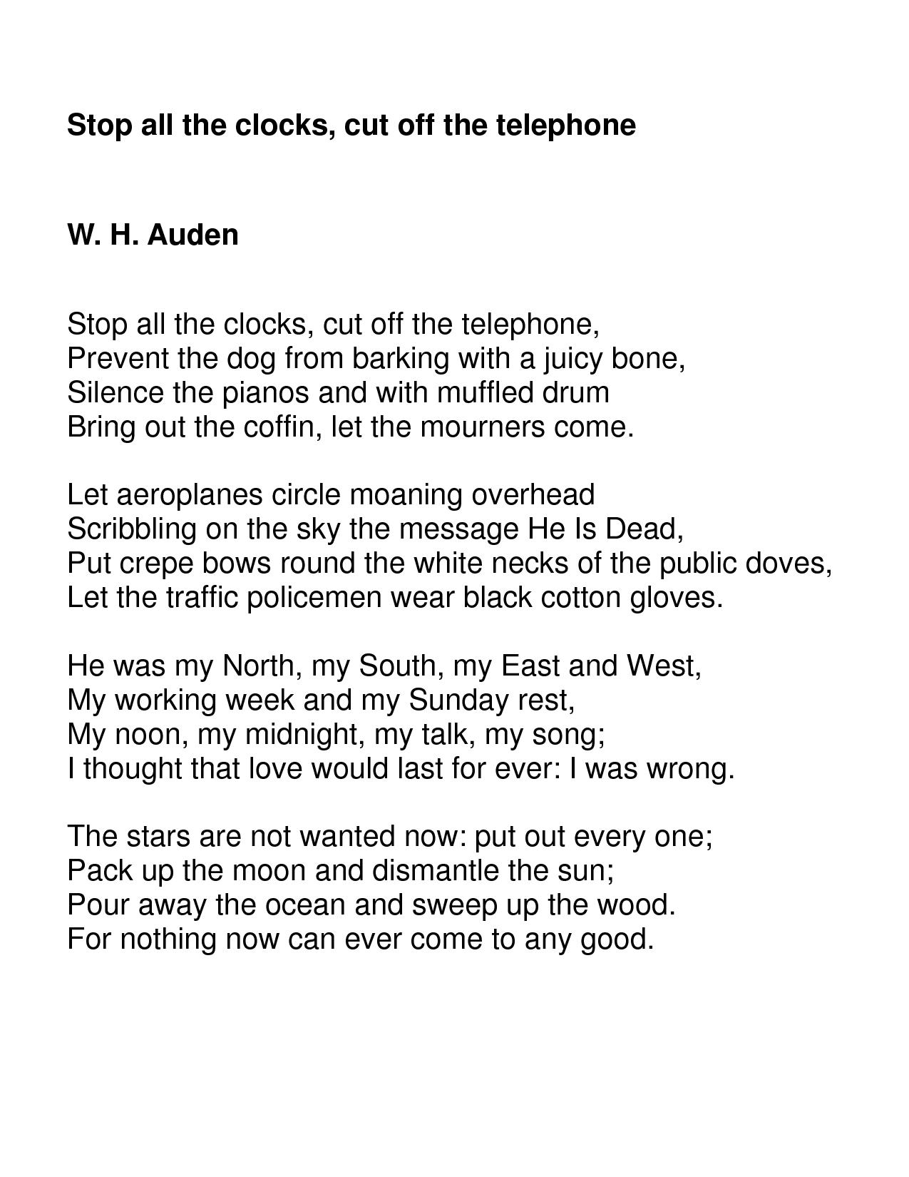 an analysis of the poem as i walked out one evening by wh auden Brief summary of the poem as i walked out one evening  one evening by  wh auden  ol' wh makes it pretty clear what's going on in this one the title.