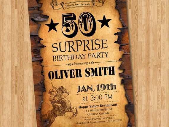 50th birthday invitation  western theme birthday for men  surprise party  30th 40th 60th 70th