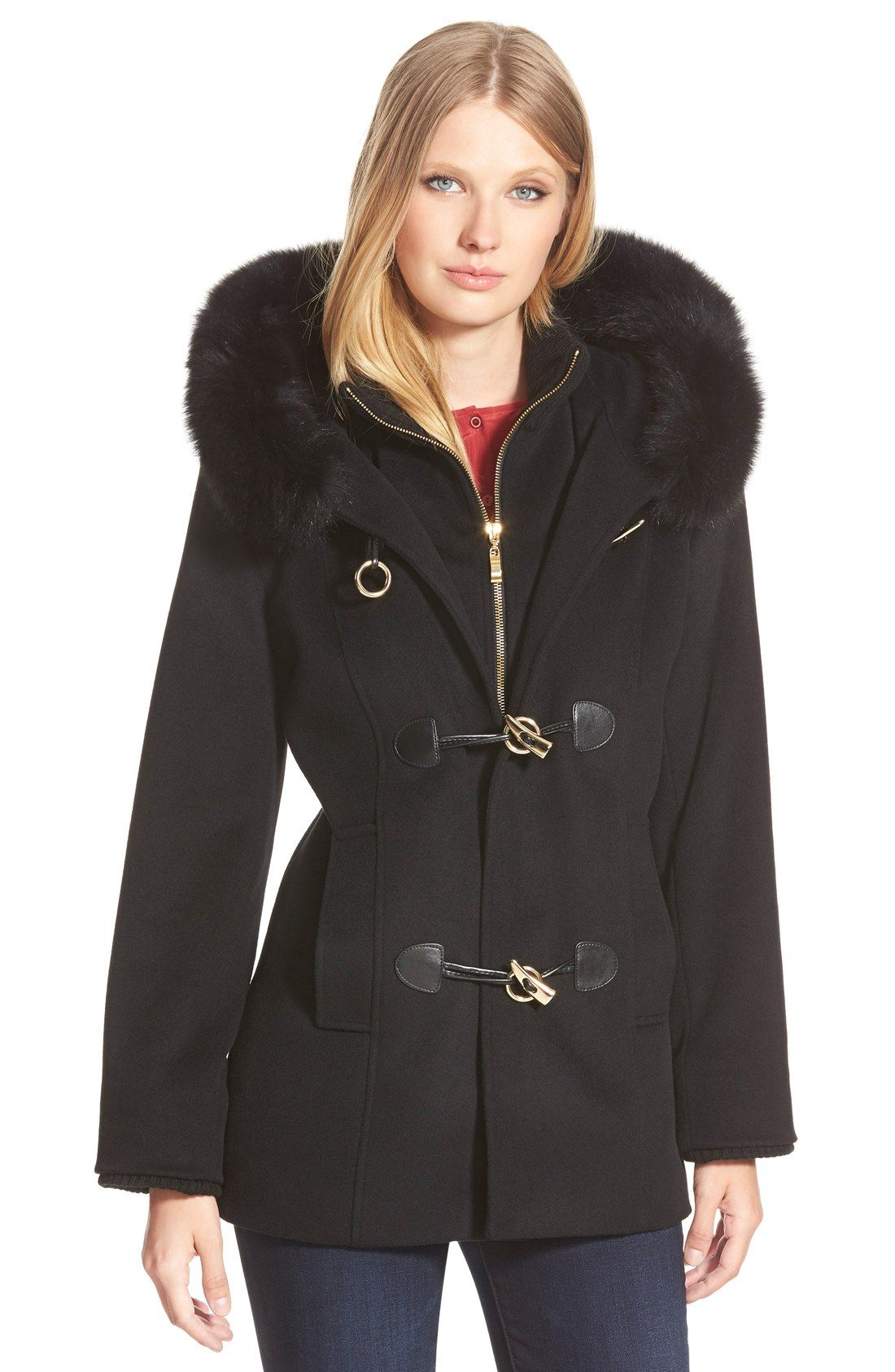 Women's George Simonton Couture Genuine Fox Fur Trim Wool Blend ...