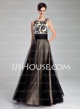 Vestidos princesa/ Formato A Decote redondo Vestidos longo Tule Vestidos de baile com Pregueado Renda (018019083) - JJsHouse