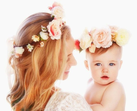 05045d41b2b Mother daughter flower crowns 1st Birthday Baby photo shoot photo props -set  of 2- Blush peach pink Flower crown headband hair accessory