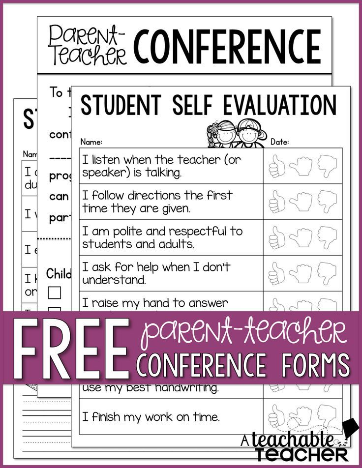 Free ParentTeacher Conference Resources  Teacher Conferences