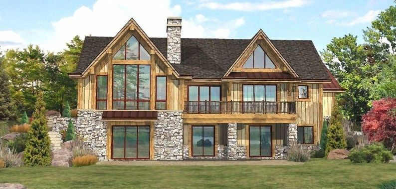 The Master Suite Is On The Main Floor With Patio Door Access To The Deck Description From Wisconsinlogho Lakefront Homes Lake House Plans Log Home Floor Plans