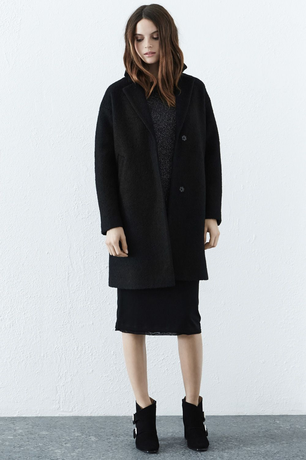 Jackets & Coats | Black BOUCLE COAT | Warehouse | It's a good look ...