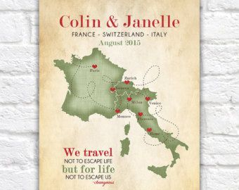 European Vacation Map Honeymoon Wedding France Switzerland Italy Poster