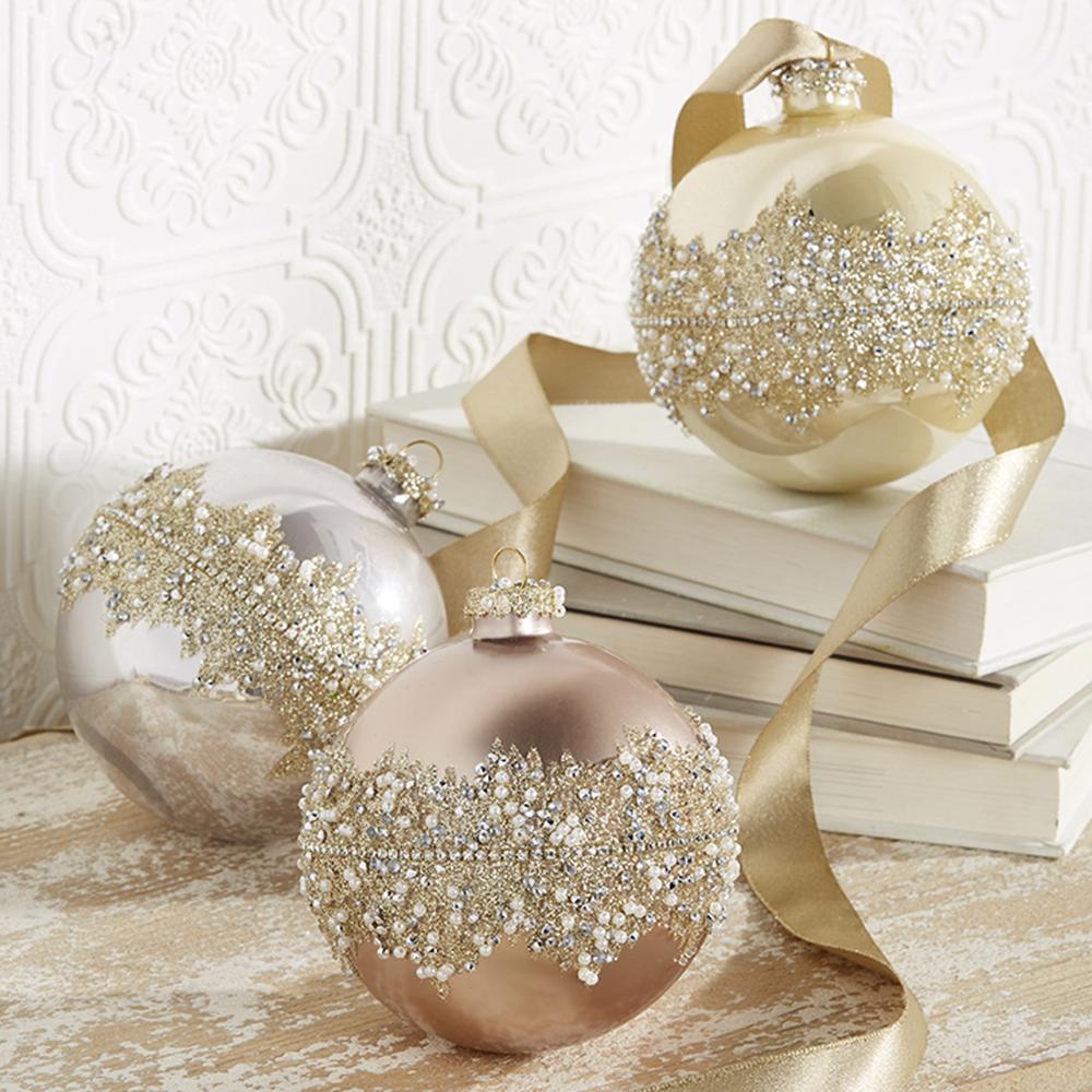 "Raz 4"" Gold, Silver, or Rose Beaded Glass Ball Christmas"