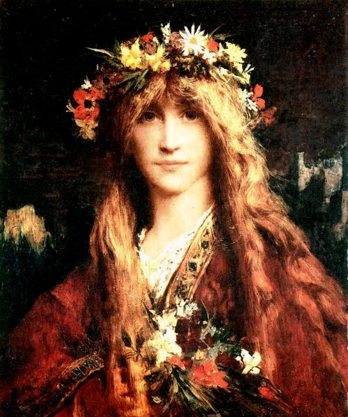 "⊰ Posing with Posies ⊱ paintings of women and flowers - Jules-Elie Delaunay ""Ophelia"""