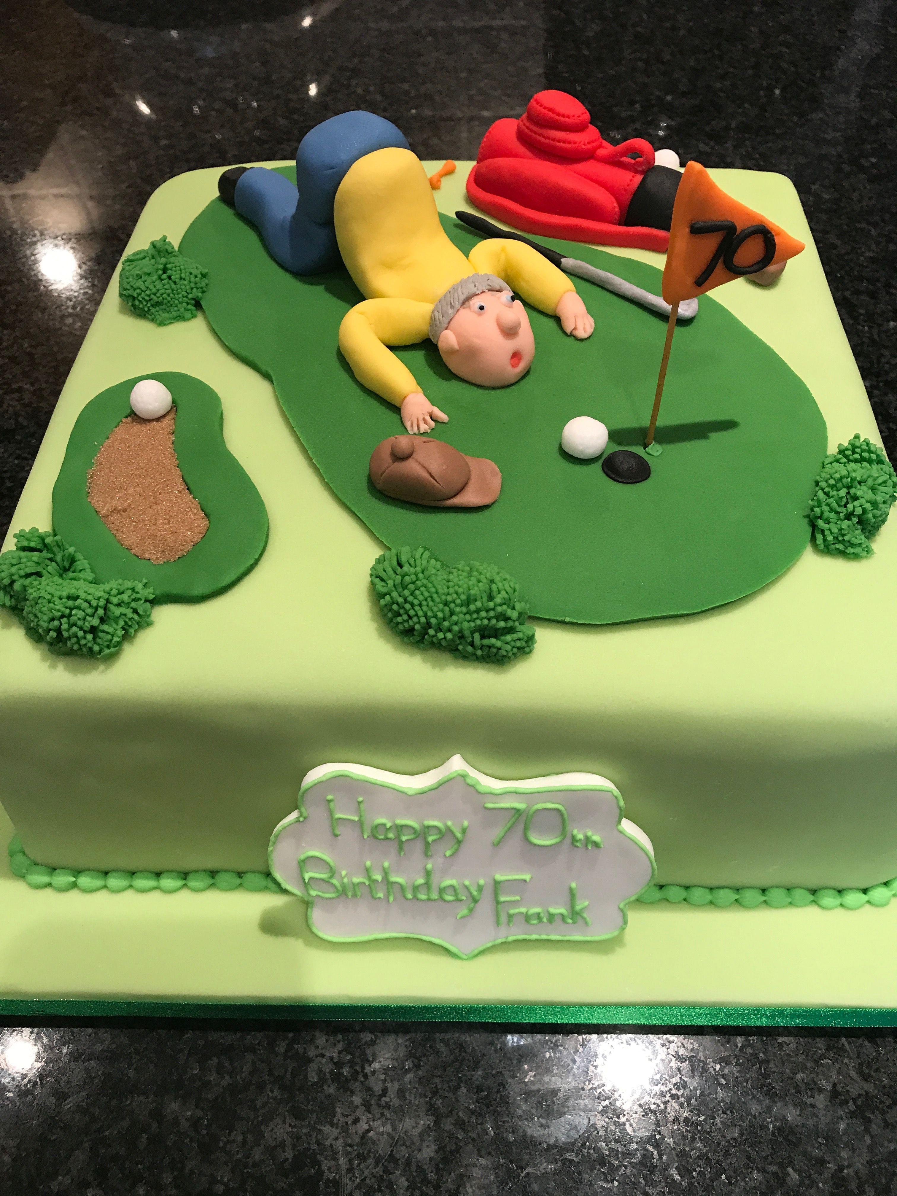 Astounding Golfers Cake Golf Birthday Cakes Golf Cake 70Th Birthday Cake Birthday Cards Printable Opercafe Filternl