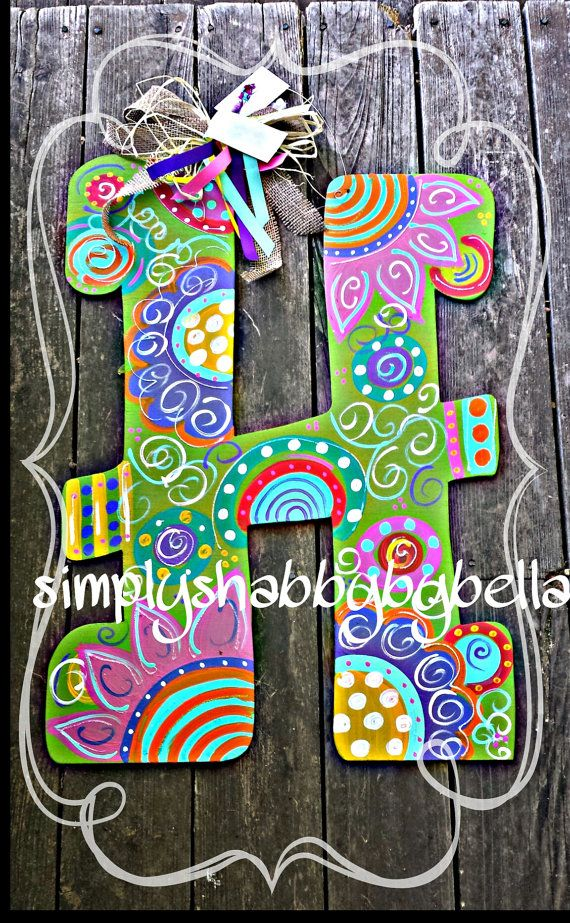 Colorful Initial letter Door hanger flowers and swirls | Pinterest ...