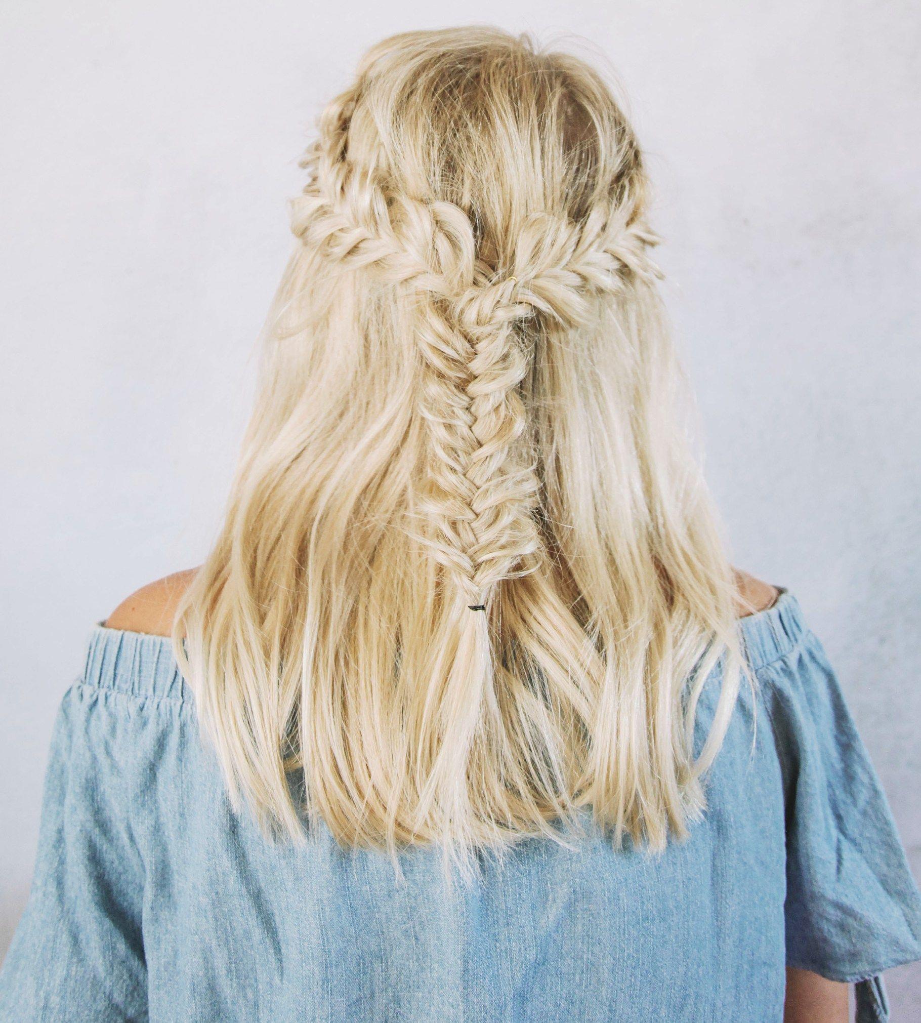 Half Up Fishtail Braids For Short Hair Model Jannayaromich Hair Styles Fishtail Hairstyles Fish Tail Braid