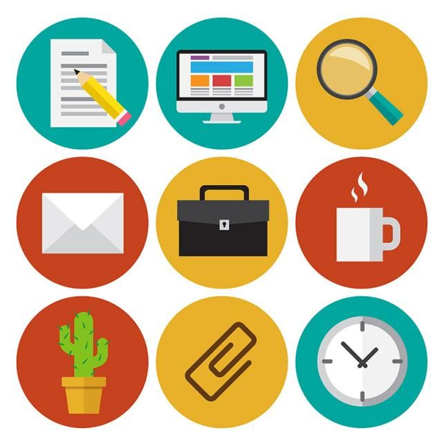 Office Work Icons Set Flat Design Illustrations Abstract Application Background Png And Vector With Transparent Background For Free Download Work Icon Flat Design Illustration Illustration Design