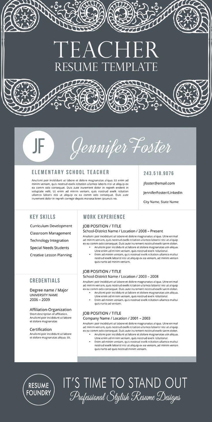 Unique teacher resume template professionally designed