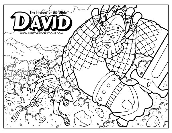 DAvid And Goliath Bible Coloring Pages, Bible Coloring, Jesus Coloring  Pages