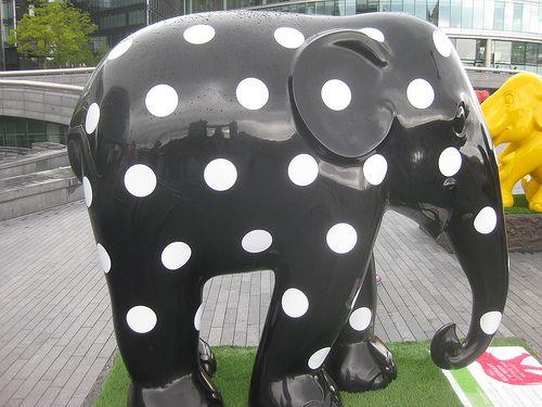 Giant Black and White Polka Dot Elephant. I love this Spotted elephant!