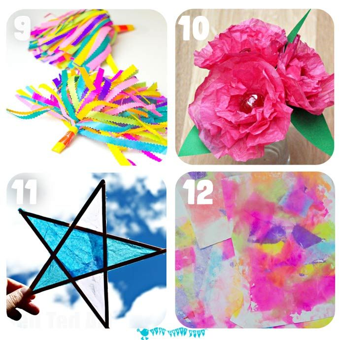 16 Of The Best Tissue Paper Crafts For Kids That Will Have Them Exploring And Experimenting With This Colorful Cheap Art Resource In A Multitude