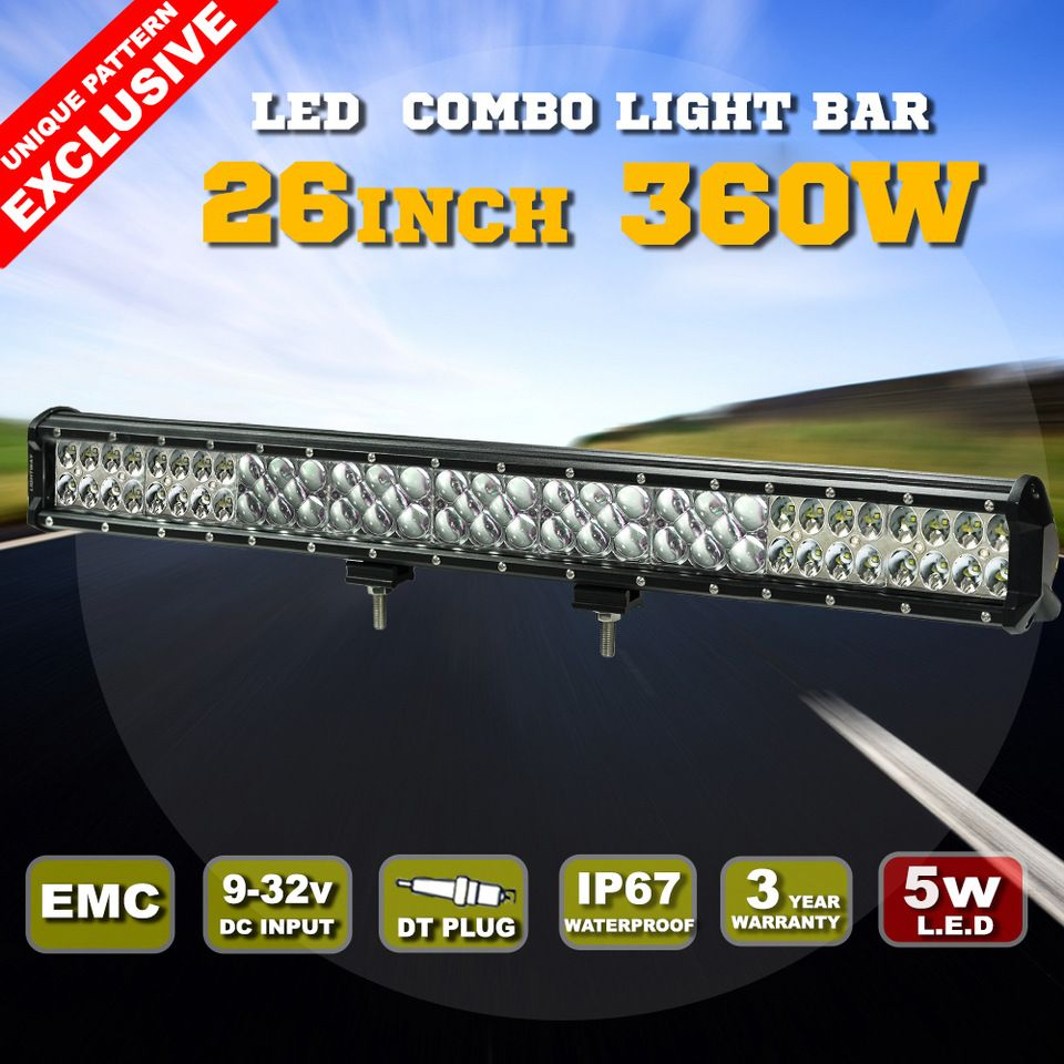26 Inch New Waterproof 12 Volt Roof Mount Car Led Light Bar Offroad Bar Lighting Led Light Bars Waterproof Led