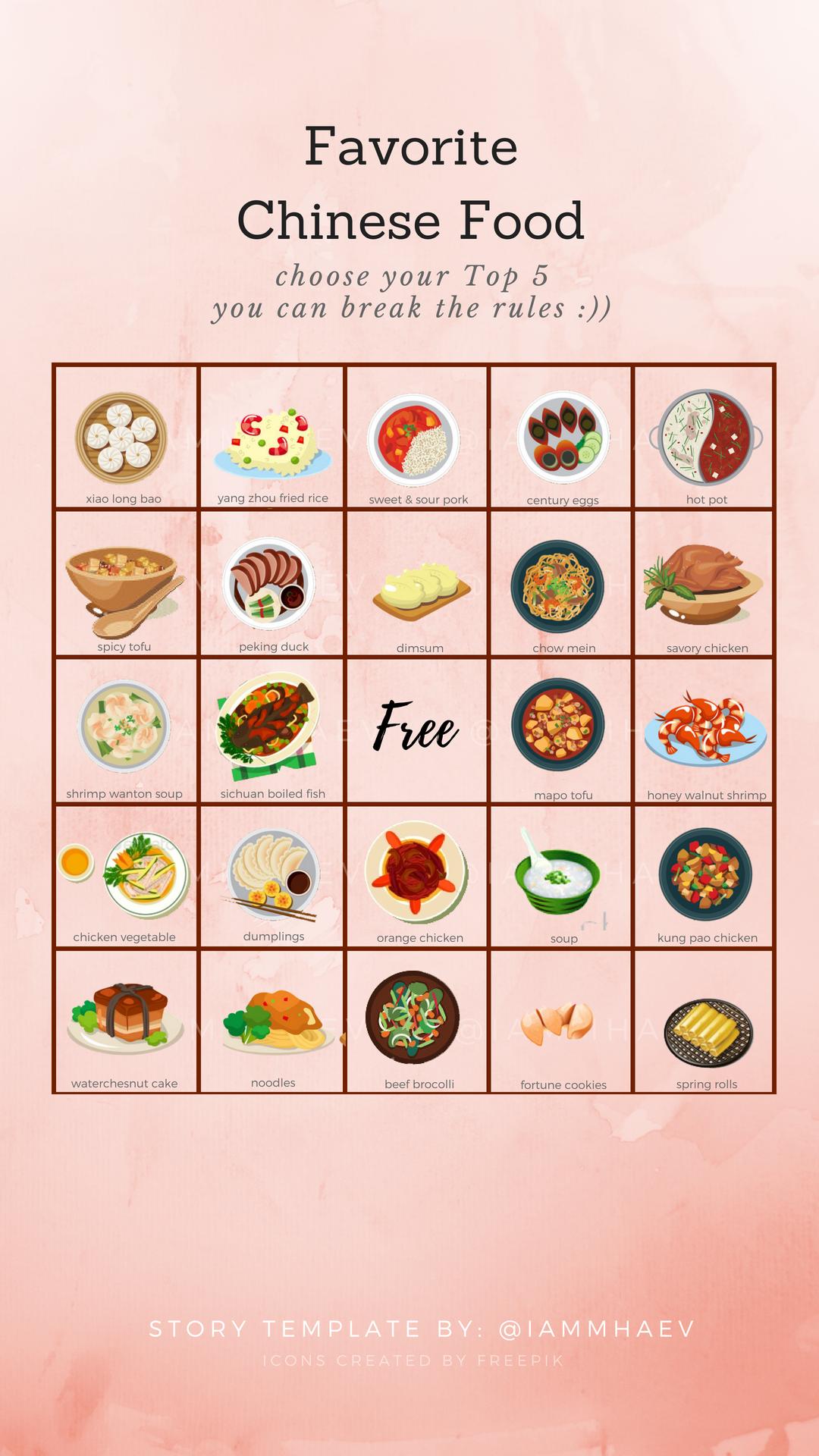 Favorite Chinese Food Bingo Instagram Story Template Kuis Dekorasi Kelas Dekorasi