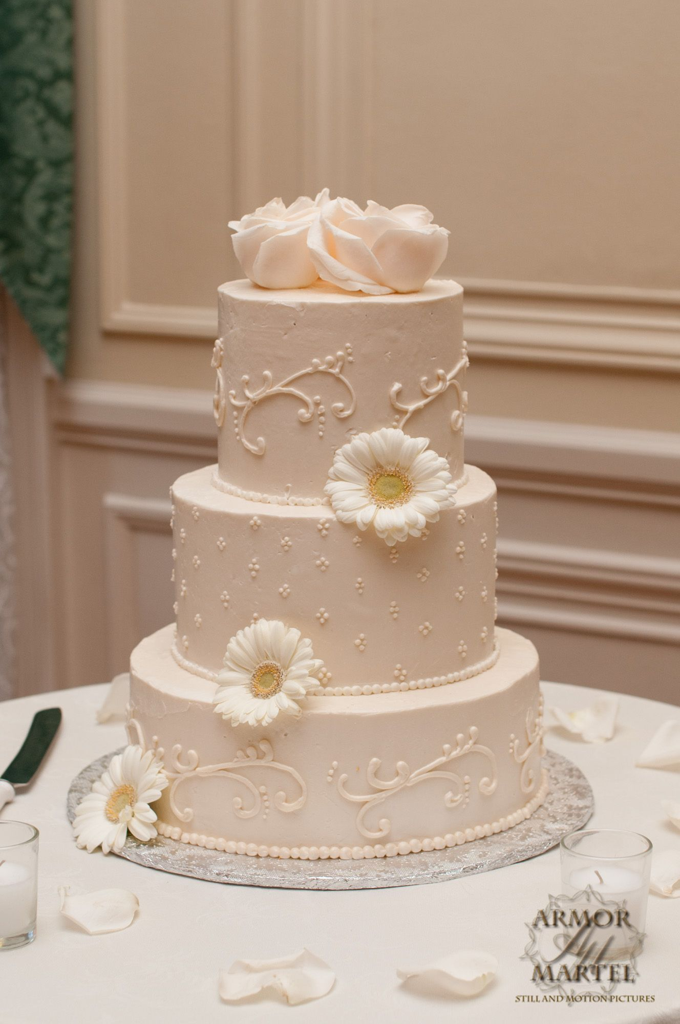 White On Buttercream Scroll Work Piping Simple Wedding Cake Flowers