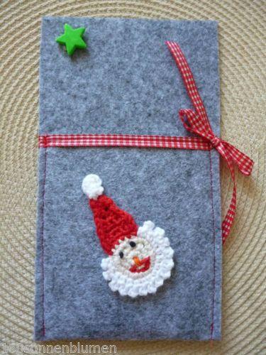 Bestecktasche Weihnachten Filz Genaeht Handarbeit Motiv