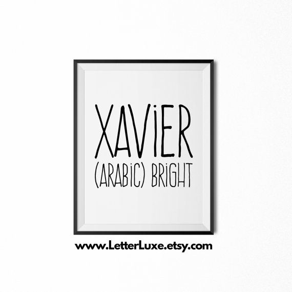 Xavier printable kids gift name meaning by letterluxeprintables xavier printable kids gift name meaning art baby shower gift nursery art digital print nursery decor typography wall decor negle Images