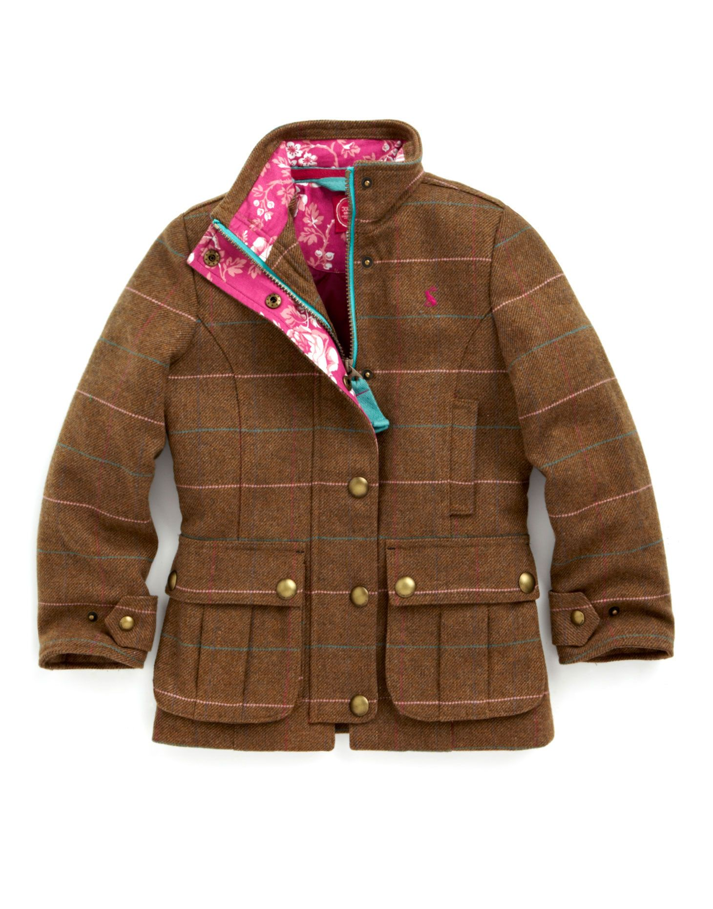JNR ASTBURY Girls Tweed Coats, Brown // Joules | Little Style ...