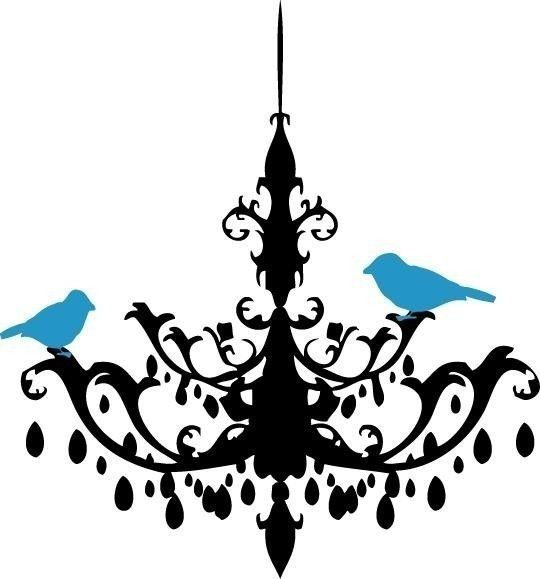 Chandelier With Tweeting Birds Vinyl Wall Decal By Ten2esigns 20 00
