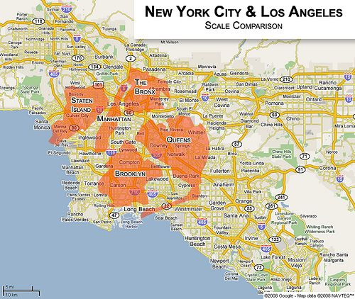 New York City Los Angeles Scale Comparison Map Los Angeles New York City City Of Angels