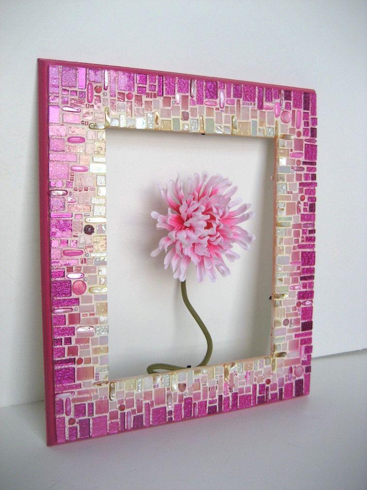Rosa marco/espejo mosaico | Mosaico | Pinterest | Marco espejo ...