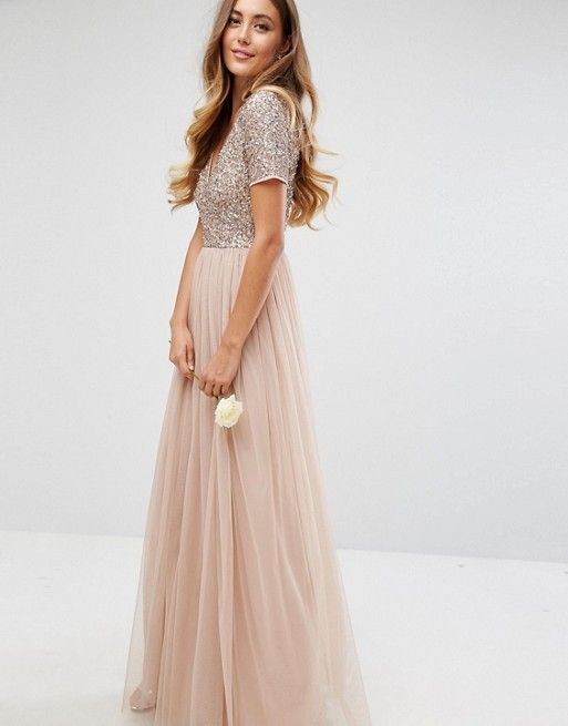 3d701d3713f48 Maya Tall | Maya Tall V Neck Maxi Tulle Dress with Tonal Delicate Sequins