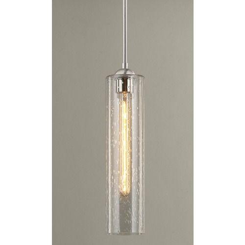 Satin Nickel Mini Pendant With Seeded Glass Mini Pendant Lights
