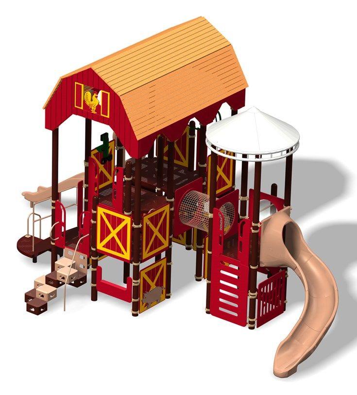 Barn panel for farm themed playground harvest farm play for Barn and silo playhouse