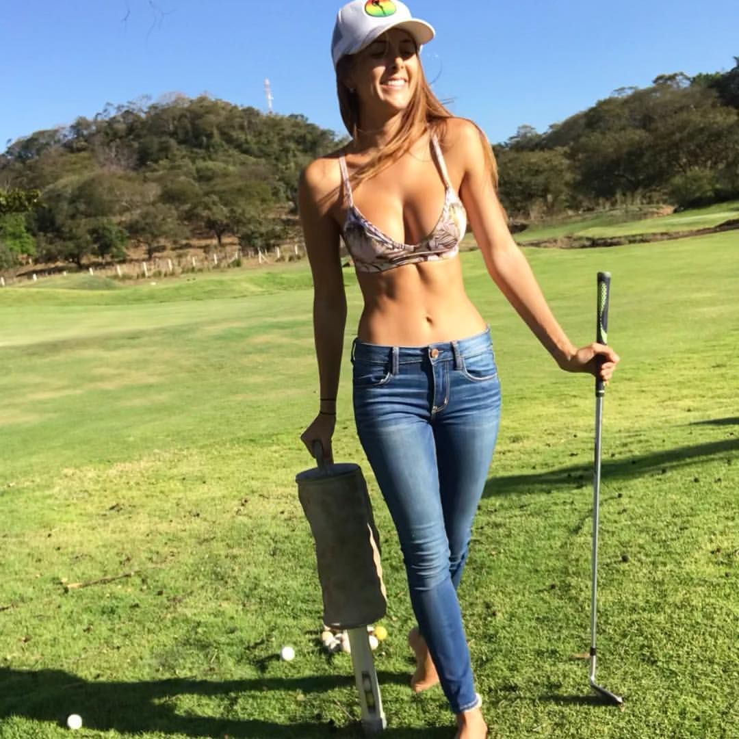 Sexy golfer girl stock photos and images