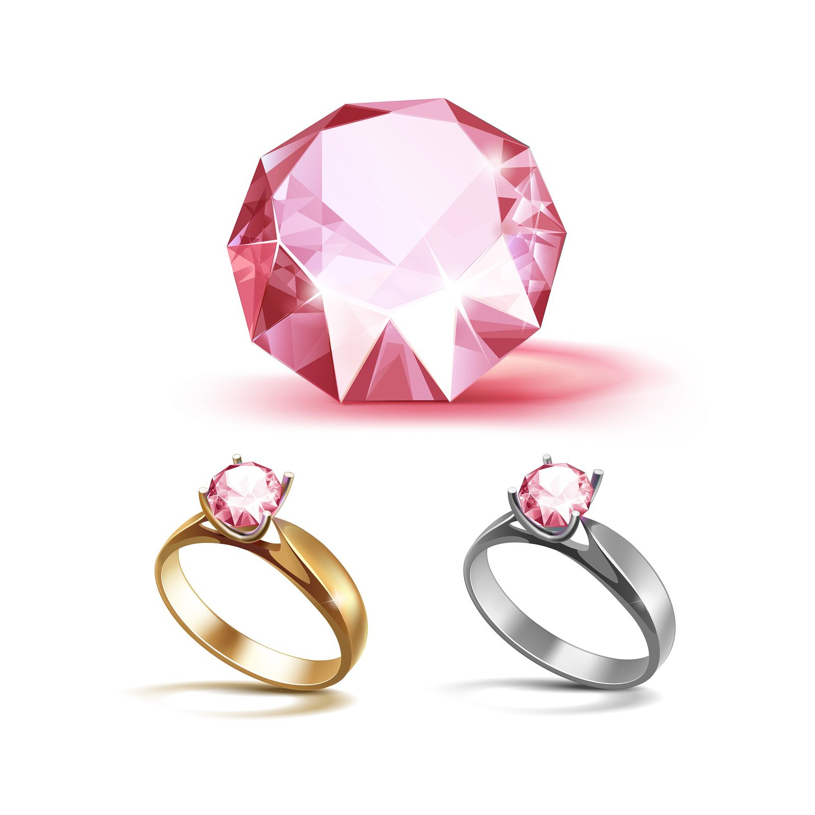 Vector Set of Gold and Siver Engagement Rings with Pink Shiny Clear ...