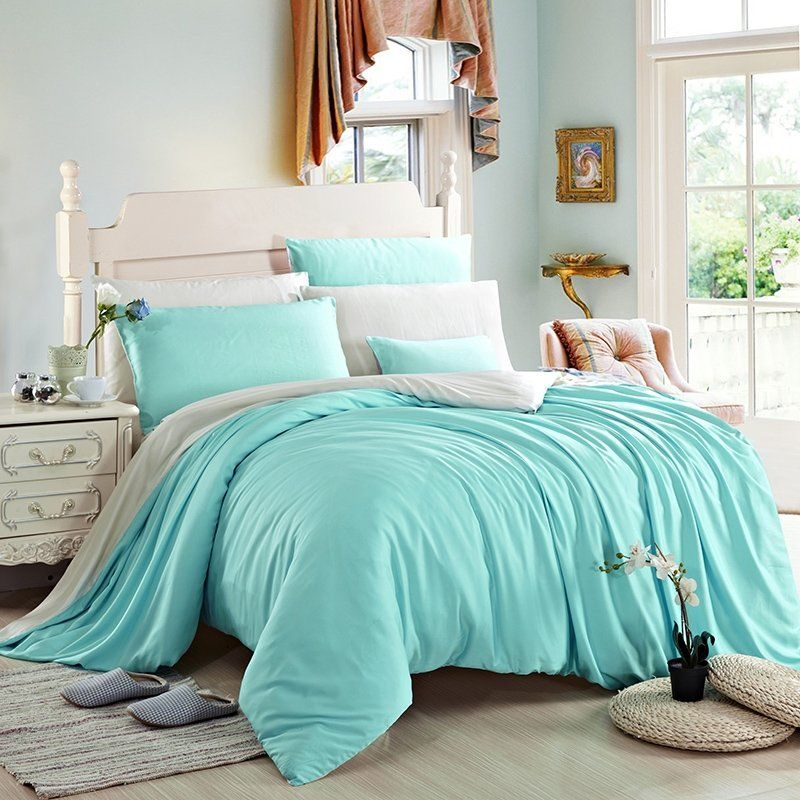 Plain Turquoise And Solid Beige Noble Excellence Luxury Simply Chic Personalized 100 Tencel Full Queen Size Bedding Sets Turquoise Bedding Sets Turquoise Bedding Bed Linens Luxury