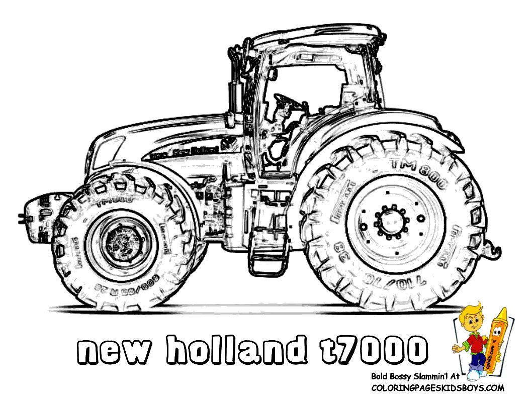 Print Out This New Holland T7000 Tractor Coloring Page